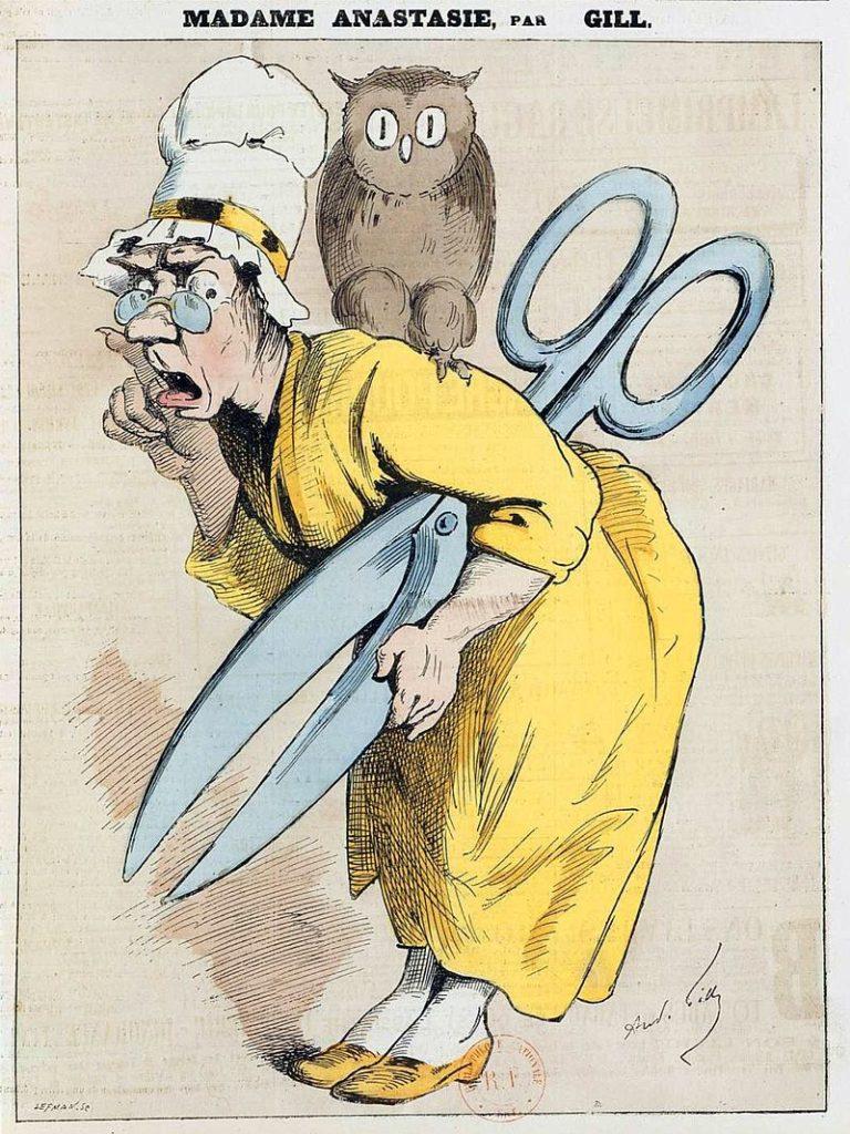 Caricature bien misogyne, ce qui est drôle quand on sait que la censure à travers les âges et la planète a été réalisée à un majorité ultra-écrasante par des hommes.
